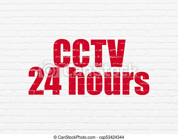 Protection concept: CCTV 24 hours on wall background - csp53424344