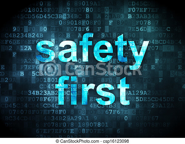 Protection concept: Safety First on digital background - csp16123098