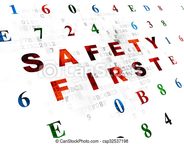 Protection concept: Safety First on Digital background - csp32537198