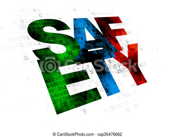 Protection concept: Safety on Digital background - csp35476662