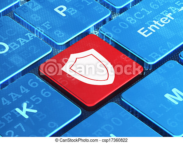 Protection concept: Shield on computer keyboard background - csp17360822