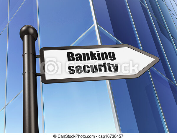 Protection concept: sign Banking Security on Building background, 3d render - csp16738457