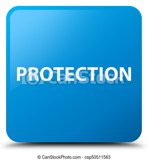 Protection cyan blue square button - csp50511563