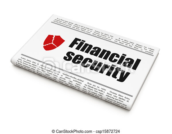 Protection news concept: newspaper headline Financial Security and Broken Shield icon on White background, 3d render - csp15872724