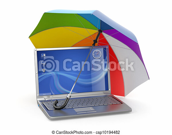 Protection of information. Laptop and umbrella - csp10194482