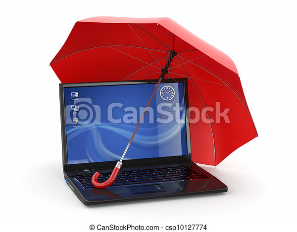 Protection of information. Laptop and umbrella - csp10127774