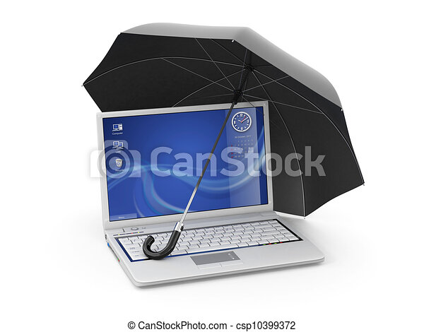 Protection of information. Laptop and umbrella - csp10399372