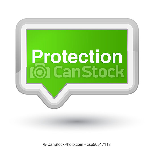 Protection prime soft green banner button - csp50517113