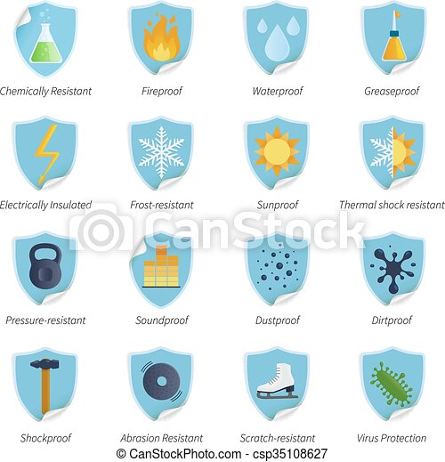 Protection Proof Flat Color Stickers - csp35108627