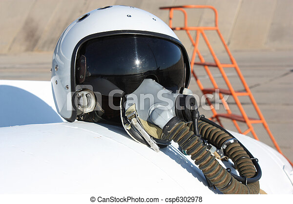 Protective helmet of the pilot against the plane  - csp6302978