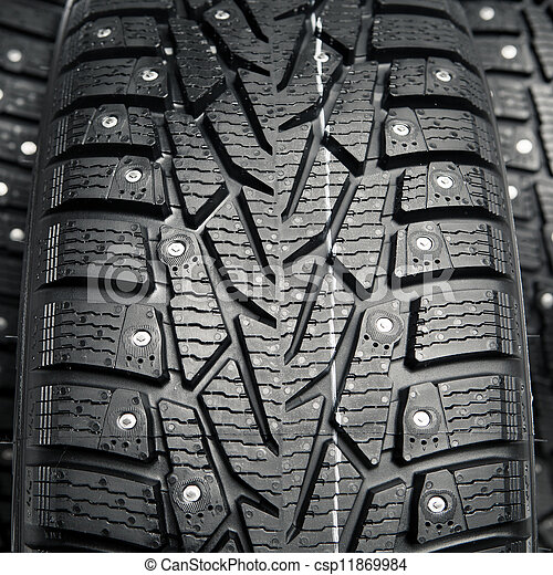 protector and snow spikes of winter tires - csp11869984