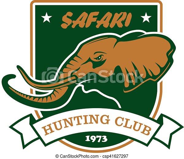 protector, caza, club, caza, símbolo., señal, safari, deporte - csp41627297