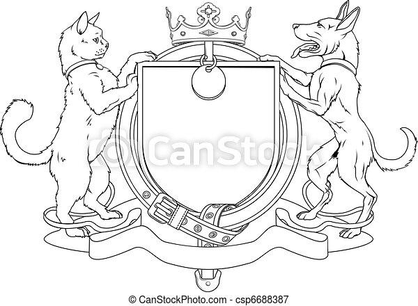 Gato y perro acarician escudos heráldicos de armas - csp6688387