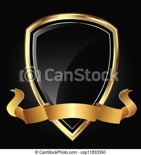 Escudo y cinta en oro brillante - csp11833350