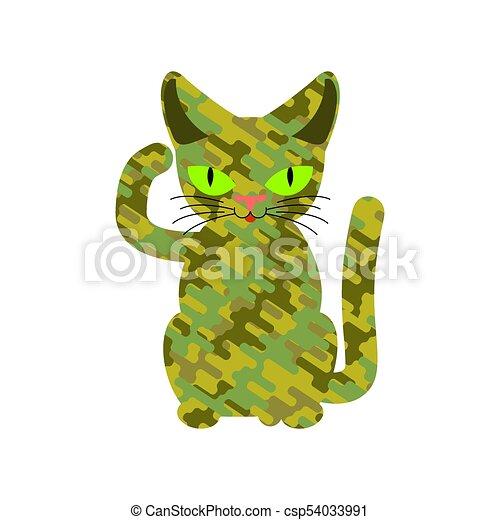 Gato militar. Textura protectora de lana khaki. Una mascota del ejército - csp54033991