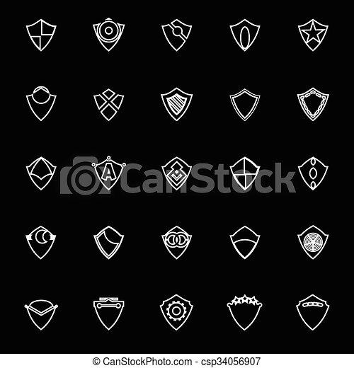 Diseñar iconos de línea de escudo en el fondo negro - csp34056907