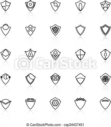 Diseñar iconos de la línea de escudos con reflejo en el fondo blanco - csp34437451