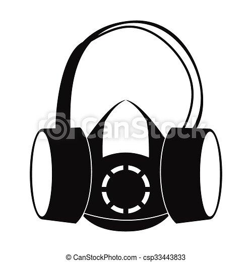 Muffs de oídos protectores y icono respiratorio - csp33443833