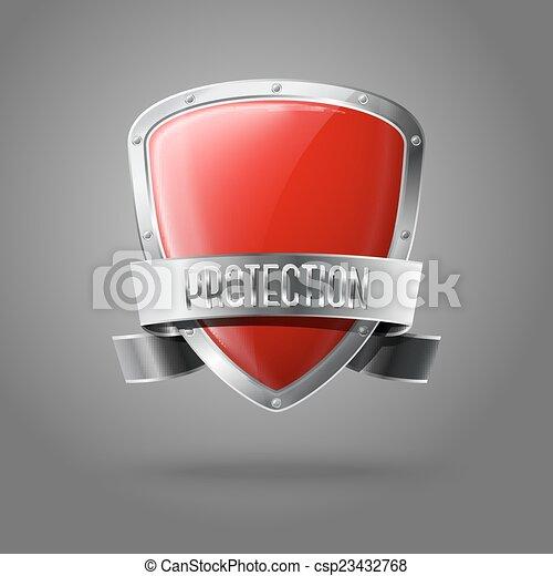 Escudo rojo y real de protección con cinta plateada y frontera aislada en el fondo gris. Vector - csp23432768