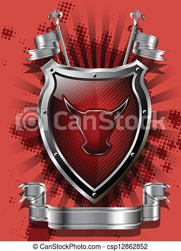 Escudo de toro rojo - csp12862852