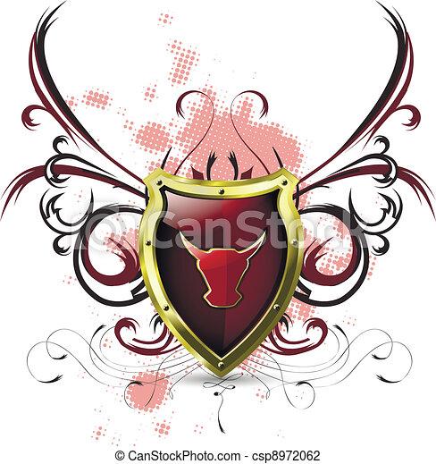 Escudo con toro rojo - csp8972062