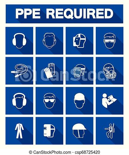 Se requiere equipo de protección personal (PE) símbolo, icono de seguridad - csp68725420