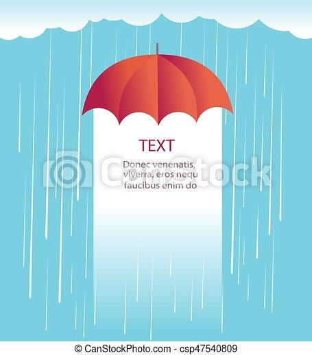 Nubes de lluvia con paraguas rojo. Protecciones contra la ilustración de la lluvia - csp47540809
