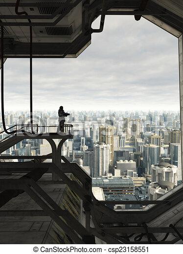 proteger, futuro, ciudad - csp23158551