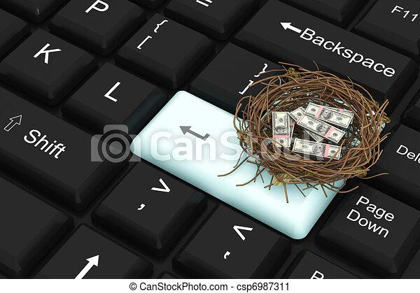Un dólar protegido en el nido - csp6987311