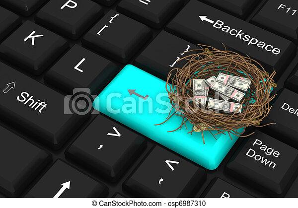 Un dólar protegido en el nido - csp6987310