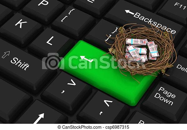 Un dólar protegido en el nido - csp6987315