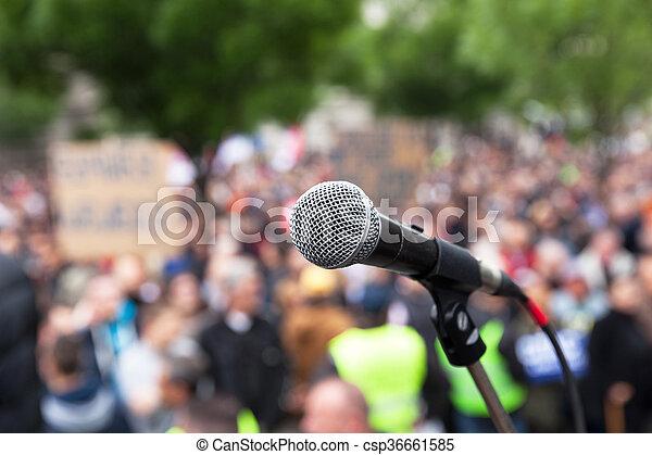 protest., demonstration., politique, public, microphone. - csp36661585