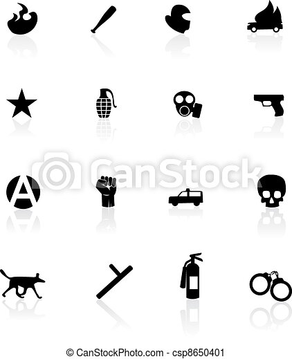 Protest icons isolated on white - csp8650401