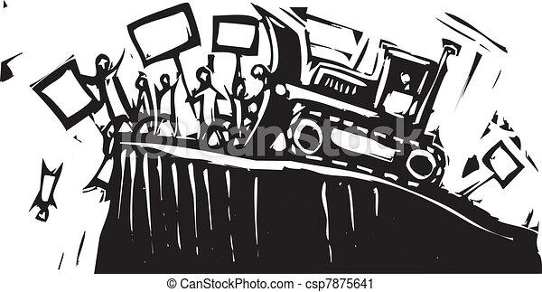 protesto, escavadora - csp7875641