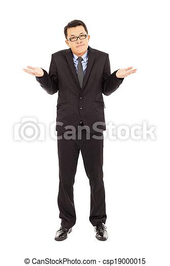 proud businessman make a disinterest gesture  - csp19000015