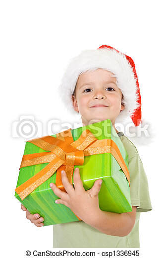 Proud little boy with christmas present - csp1336945