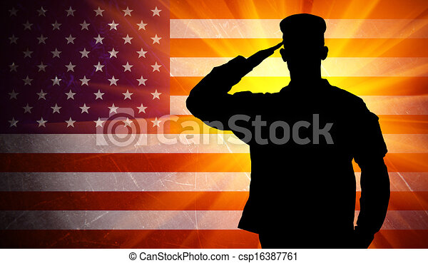 Proud saluting male army soldier on american flag background - csp16387761