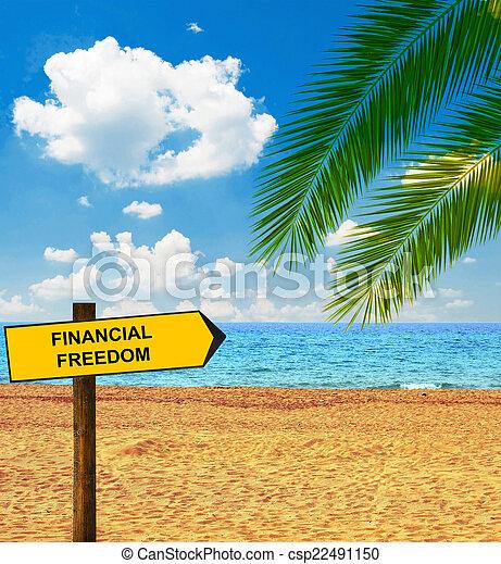 proverbe, direction, liberté financière, exotique, planche, plage - csp22491150