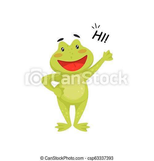 proverbe, onduler, patte, amical, plat, élément, gai, livre, vecteur, grenouille verte, salut, toad., enfants - csp63337393