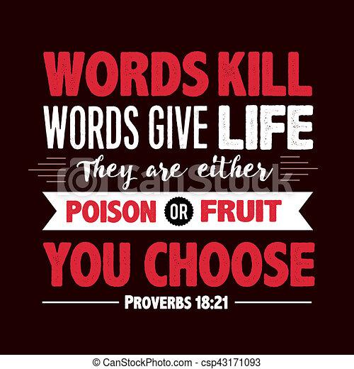 Las palabras matan palabras dan proverbio de vida - csp43171093