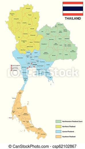 Provinces and regions vector map of the kingdom of thailand with flag.