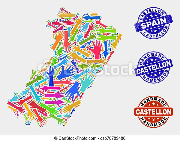 Provincia De Castellón Mapa.Collage De Mano De Mapa De La Provincia De Castellon Y