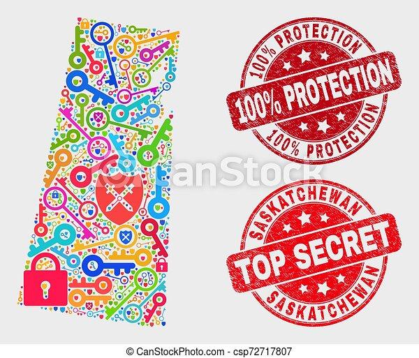 provincia, mappa, afflizione, passkey, collage, saskatchewan, 100%, francobollo, protezione, sigillo - csp72717807