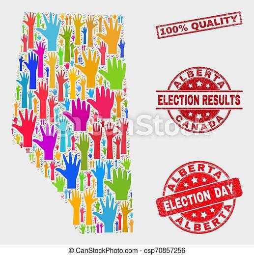 provincia, mappa, grunge, collage, 100%, elezione, sigillo, alberta, qualità - csp70857256