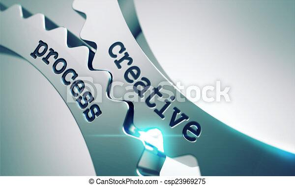 Kreativer Prozess auf den Zahnrädern. - csp23969275