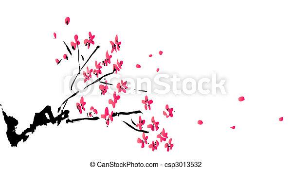 prugna, fiore, pittura, cinese - csp3013532