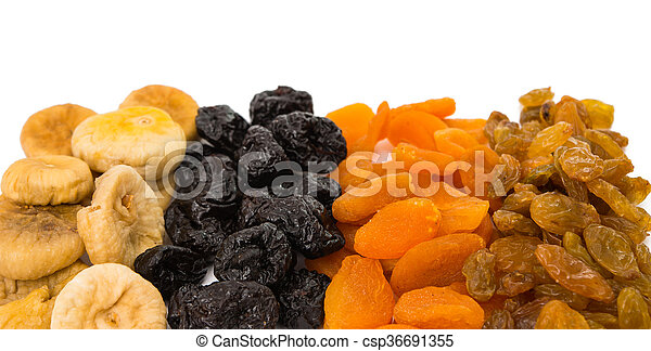 prunes, figs, dried apricots isolated on white background - csp36691355