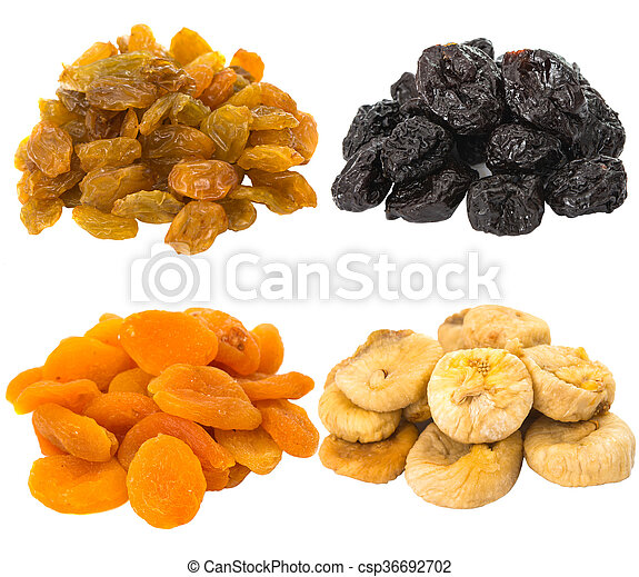 prunes, figs, dried apricots isolated on white background - csp36692702