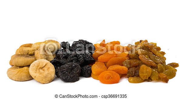 prunes, figs, dried apricots isolated on white background - csp36691335