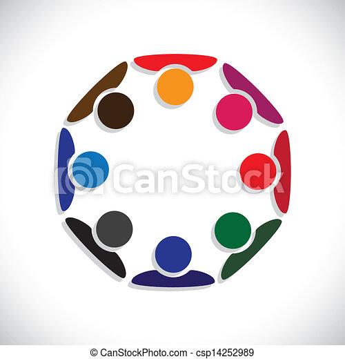 przedstawiać, pojęcie, ludzie, graphic., interaction-, pracownicy, również, pracownik, koła, rozmaitość, barwny, ilustracja, jedność, spotkanie, dzieciaki, to, razem, interpretacja, etc, wektor, może, albo - csp14252989